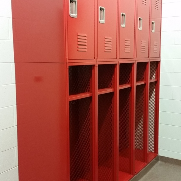 """Durham Fire Station"" ( Custom Locker ) 18""w. x 24""d. -- 97"" Overall Height… consist of: Lower Locker 60"" high - No Door / Upper Locker 37"" high - with door"